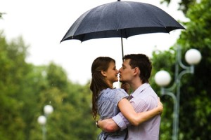 Couple Embrace Hug Rain Affection